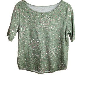LOFT outlet green patterned short sleeve shirt